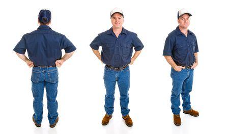 ブルーカラー労働者。異なる視点と表現、白い背景で隔離の 3 つのフルボディのビュー。