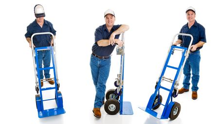 age 5: Three different views of a delivery man with his hand truck.  Full body isolated on white.