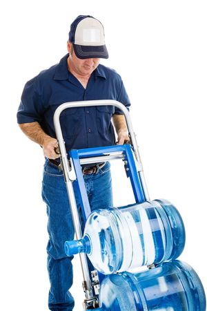 Water delivery man with hand truck, viewed from above.  Blank space on hat can carry your logo.  Isolated on white.   photo