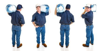 jugs: Handsome water delivery man carrying five gallon jug of water over his shoulder.  Four full body views isolated on white.   Stock Photo