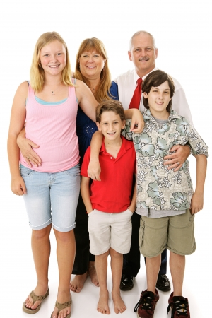 Beautiful happy blended family - father, mother, two boys, and a girl.  Boys belong to the dad, girl to the mom.   Full body isolated against a white background.