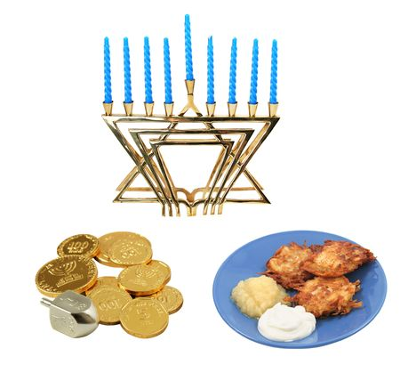 Design elements for Chanunkah - menorah, latkes, and a dreidel with chocolate gelt.  All isolated on white background.  (symbols on the coins are generic Hanukkah symbols and hebrew writing, not trademark)