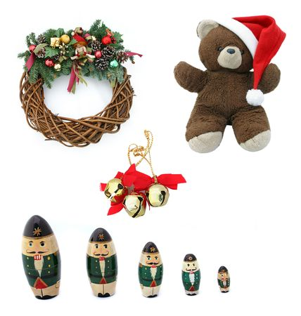 teddy wreath: Collection of traditional Christmas design elements isolated on white.  Great value!