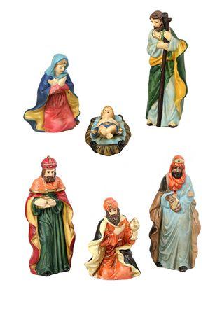reyes magos: El Santo y los tres reyes magos del nacimiento, cada uno aislado como elementos de dise�o sobre fondo blanco. Foto de archivo