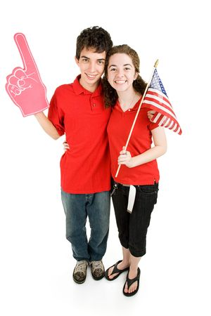Attractive teen couple supporting their favorite sports team or political party.  Full body isolated on white. Stock Photo - 3548596