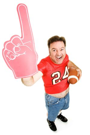 Enthusiastic middle aged football fan holding a football and wearing a foam finger.  Full body isolated on white. Stock Photo - 3581612