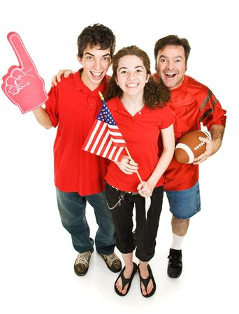 Group of happy sports fans - father, daughter, and her boyfriend - cheering for their football team.  Full body isolated on white. Stock Photo - 3712009