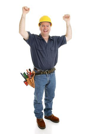 Construction worker excited by his success or good fortune.  Full body isolated on white.