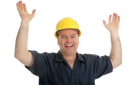 journeyman technician: Construction worker throwing up his hands in joy.  Isolated on white.