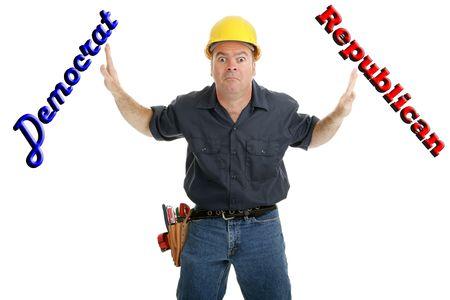 ind�cis: Travailleur de la construction si ind�cis � voter d�mocrate ou r�publicaine. Isol� sur un fond blanc avec texte.