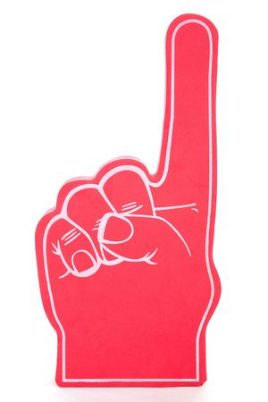 fingers: Red foam hand showing the number one, used for sports events.  Isolated on white.  (foam texture may appear similar to noise)