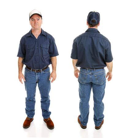 average guy: Front and backviews of average blue collar working man, isolated on white background. Stock Photo