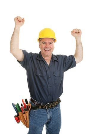 Construction worker throwing his arms up in joy.  Isolated on white. Stock Photo - 3823983