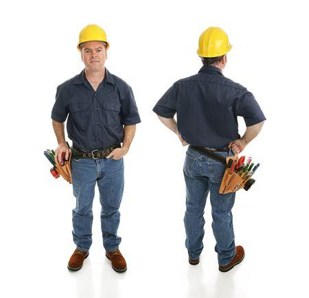 建設労働者の前面と背面ビューフルボディの白で隔離されます。