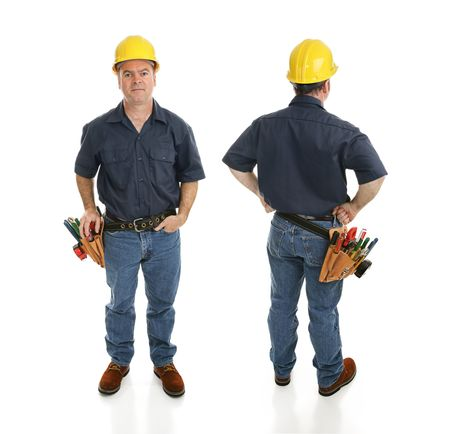 Front and back views of a construction worker.  Full body isolated on white.   photo