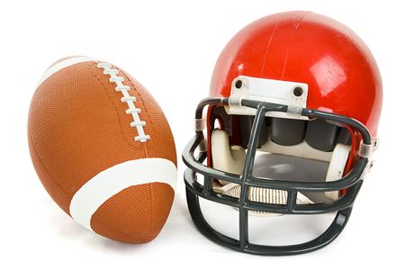 Football and helmet isolated on a white background.