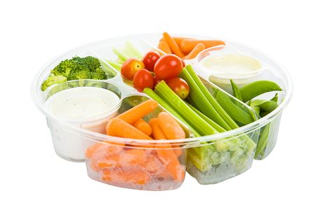 Isolated tray of raw vegetables and dip with clipping path. Stock Photo - 3823981