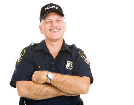 gorra polic�a: Feliz, riendo oficial de la polic�a. Aislado en blanco.