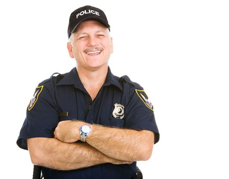 Happy, laughing police officer. Isolated on white.