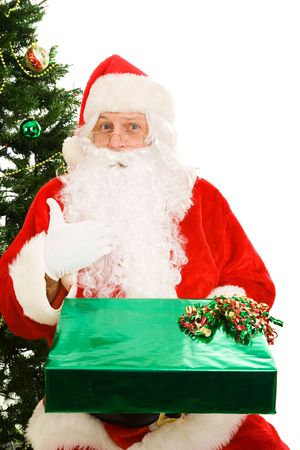 Santa Claus surprised to be getting a Christmas present.  White Background. Stock Photo - 3889927