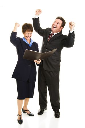 overjoyed: Business people overjoyed by a positive financial report.  Full body isolated on white.   Stock Photo