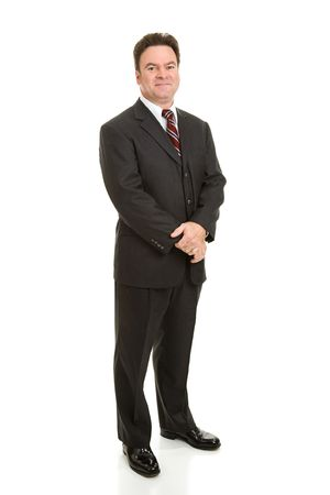 Full body view of handsome businessman in his forties.  Isolated on white.