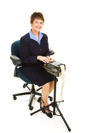competent: Pretty court reporter using a stenograph machine.  Full body isolated on white.