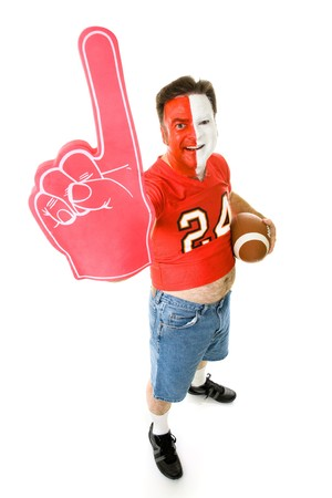 Overweight, middle aged sports fan in a football jersey with a number one foam finger. Stock fotó - 3961884