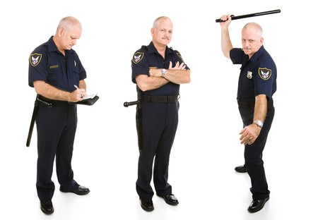 Three views of handsome middle-aged police officer. Full body isolated on white.