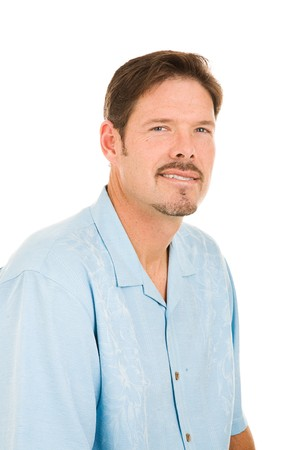 tortillera: Retrato de un apuesto hombre de treinta, con un Van Dyke barba. Aislado en blanco.