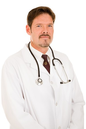 trustworthy: Portrait of a handsome, trustworthy doctor in a white lab coat.  Isolated on white.