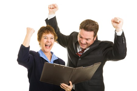 overjoyed: Business parters overjoyed by latest economic numbers.  Isolated on white.