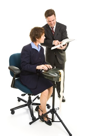 precedent: Court reporter and attorney going over a case together.  Full body isolated on white.