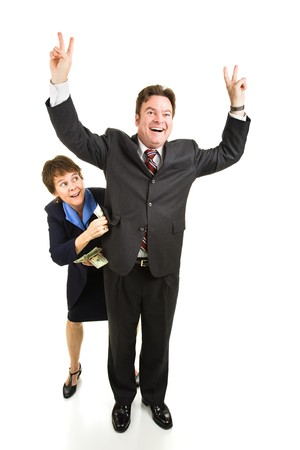congressman: Lobbyist bribing a politician who is campaigning for office.  Full body isolated on white.   Stock Photo