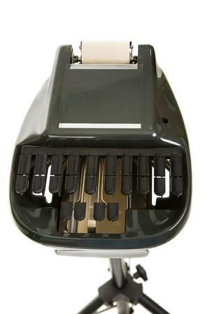 machines: Court reporting stenography machine isolated on white.
