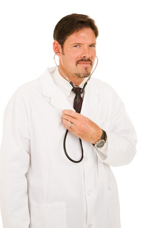 Handsome doctor listening to his own chest with a stethoscope.  Isolated on white.   Stock Photo - 4254106