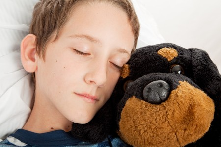 Closeup of adorable little boy sound asleep with his stuffed animal.   photo