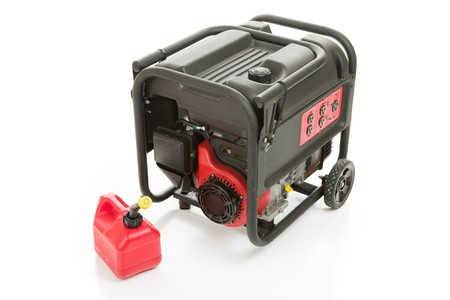 Emergency gas powered electric power generator and can of gasoline.  Isolated on white background.