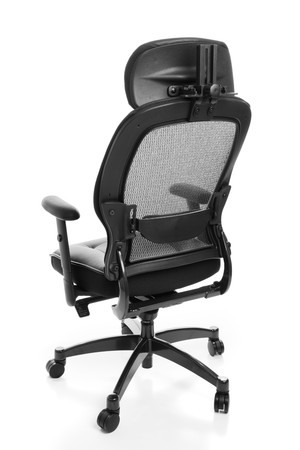 Rear view of an ergonomic executive office chair.  Isolated on white.
