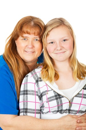 Beautiful blond haired mother and daughter.  Closeup portrait on white.  photo