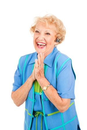 hands free: Superior de dama en manos libres conjunto es emocionante noticias en tu celular. Aislado en blanco.
