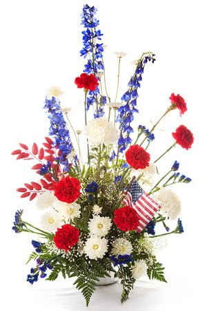 Flower arrangement in red, white, and blue to celebrate America.  Isolated on white. Stock Photo - 4487069