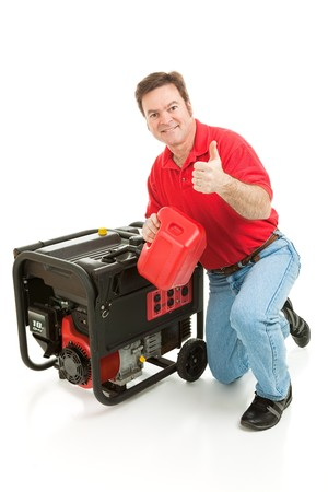 fueling: Man fueling his portable emergency generator gives thumbs up sign.  Isolated on white.   Stock Photo