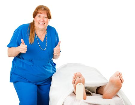 morgue: Humorous photo of a nurse giving a thumbs up sign after killing off a patient.  Isolated on white.