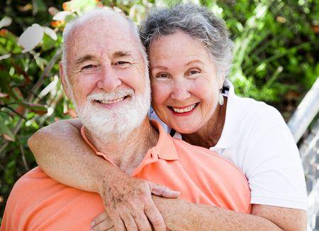 Portriat of a healthy, happy senior couple in love.   Standard-Bild