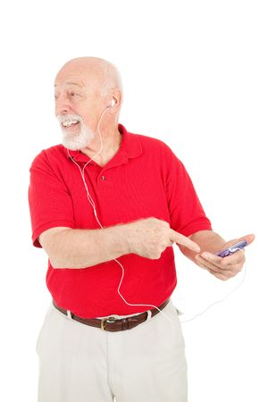 Senior man talking about his new MP3 player.  Isolated on white. Stock Photo - 7565845