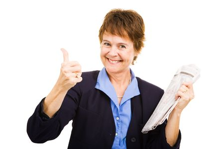 Mature businesswoman looking for a job gives a thumbs-up sign.  Isolated on white. photo
