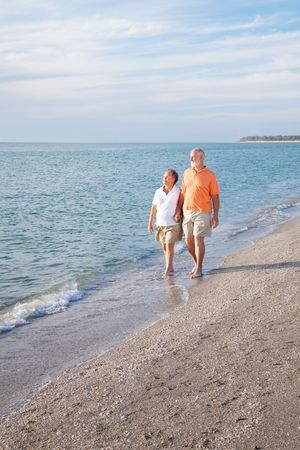 financially: Financially secure retired senior couple enjoys a walk on a beautiful beach.  Wide angle view with room for text.