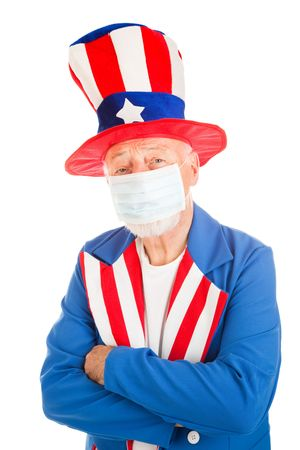 epidemic: American symbol Uncle Sam wearing a face mask to protect against a health epidemic.   Stock Photo