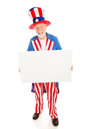 Realistic Uncle Sam holding a blank white sign ready for your text.  Isolated on white. photo